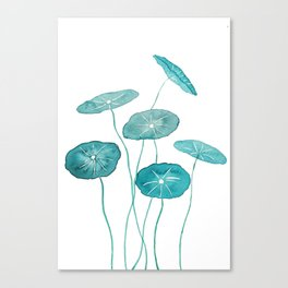 whorled umbrella plant leaf watercolor Canvas Print