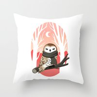 owl Throw Pillows featuring Winter Owl by Freeminds