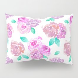 Purple and Pink Watercolor Roses Floral Pattern Pillow Sham