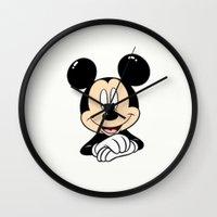 mickey Wall Clocks featuring Mickey by Yuliya L