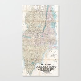 Vintage Map of Jersey City and Hoboken (1886) Canvas Print