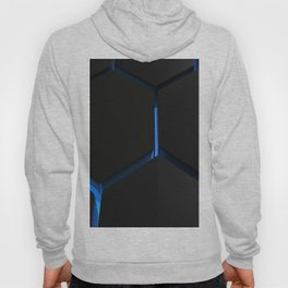 Futuristic hexagons on blue backlight Hoody