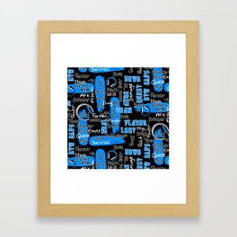 Gamer Lingo-Black and Blue Framed Art Print