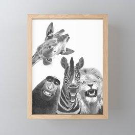 Black and White Jungle Animal Friends Framed Mini Art Print