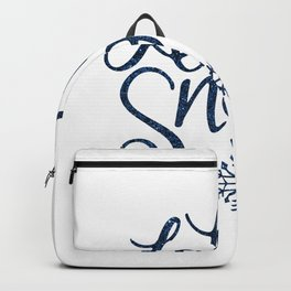 Let It Snow Blue Glitter Typography Winter Backpack