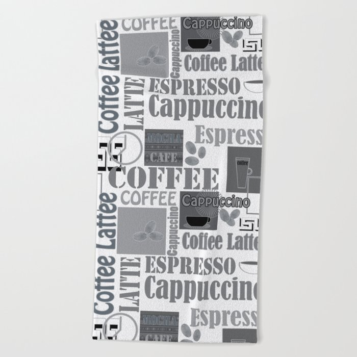 """Black and white pattern. """"Favourite coffee """" Beach Towel"""