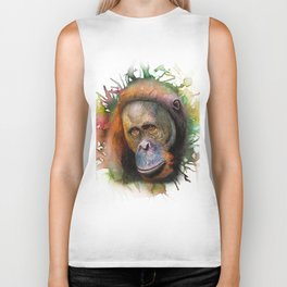 An Orangutan Watercolor Portrait Biker Tank