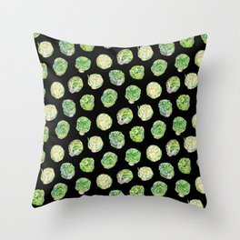 Brussel Sprouts Pattern Black Throw Pillow