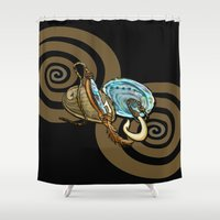 maori Shower Curtains featuring Abalone with Historic Maori Fishing Hooks by Patricia Howitt