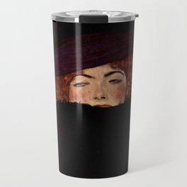 """Gustav Klimt """"Lady with Hat and Feather Boa"""" Travel Mug"""