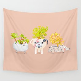 Kawaii dog cat hedgehog succulents Wall Tapestry