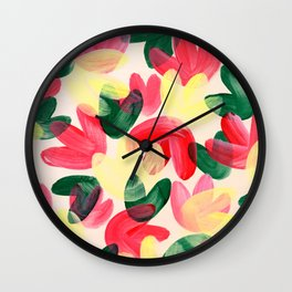 Vibrant Acrylic Painting Layered Tulips Floral Pattern Multi Colors Green Red Yellow Garden Wall Clock