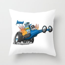 Top Fuel Dragster Cartoon Throw Pillow