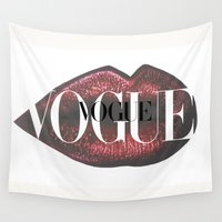 vogue Wall Tapestries featuring Vogue Fashion Lips by Stop4Design