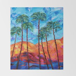 California Palm Trees Throw Blanket