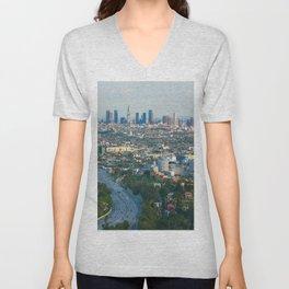 Los Angeles Skyline and Los Angeles Basin Panorama Unisex V-Neck