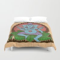 ganesh Duvet Covers featuring peace ganesh by Peter Patrick Barreda