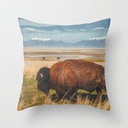 Wild Bison Utah Nature Throw Pillow
