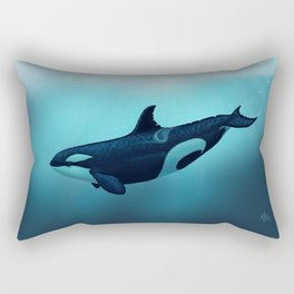 """""""Lost in Serenity"""" by Amber Marine ~ Orca / Killer Whale Art, (Copyright 2015) Rectangular Pillow"""