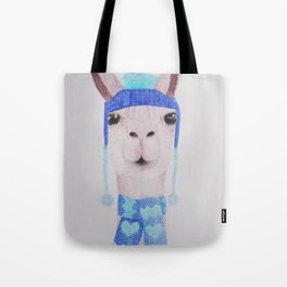 Llama in woolly hat and scarf Tote Bag