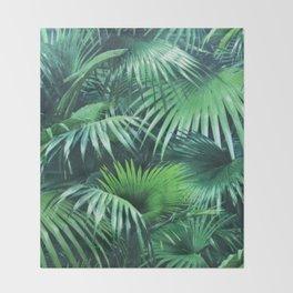 Tropical Botanic Jungle Garden Palm Leaf Green Throw Blanket