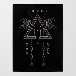 Mandala Tribal Bull Poster