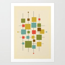 Mid-Century Modern Geometric Abstract Squares - Multi-colour Art Print