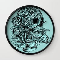 carpe Wall Clocks featuring Carpe Noctem (Seize the Night) by Rachel Caldwell