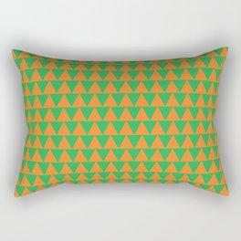 Green and Orange Triangles Rectangular Pillow