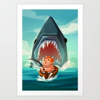 jaws Art Prints featuring JAWS by Aggie Cheung