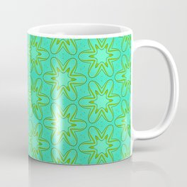 Teal and Green Star Flower Coffee Mug