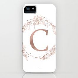 Letter C Rose Gold Pink Initial Monogram iPhone Case