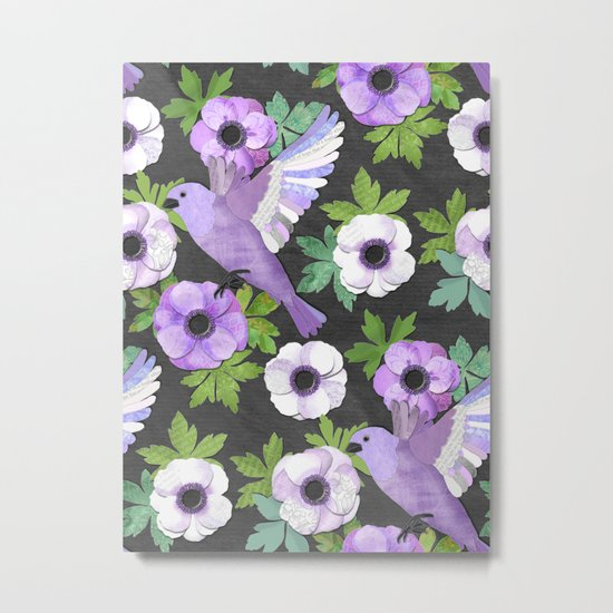 Purple Paper Anemone Collage Metal Print
