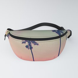 Pink Sunset, Palm Tree Silhouette Encinitas, California - Surfer Fanny Pack