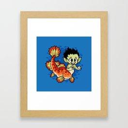 Crimson Pond Dragon Framed Art Print