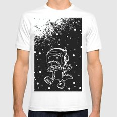 DINOSAUR IN SPACE! White MEDIUM Mens Fitted Tee
