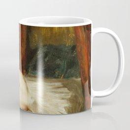 """Eugène Delacroix """"La Femme aux bas blancs (Study of Female Nude Reclining on a Divan)"""" Coffee Mug"""