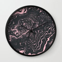 Kagami - spilled ink minimal modern abstract watercolor marble pattern marbling marble phone case Wall Clock