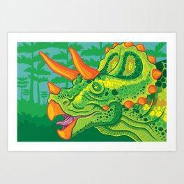 Triceratops (lime) Art Print