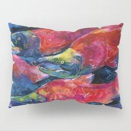 Sockeye Salmon Watercolor Painting Pillow Sham