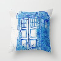 tardis Throw Pillows featuring TARDIS by Redeemed Ink by - Kagan Masters