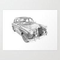 mercedes Art Prints featuring Mercedes-Benz 180 by Gábor Vida