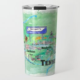 USA Tennessee State Travel Poster Map with Tourist Highlights Travel Mug