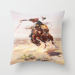 Vintage Western Cowboy Bronc Rider C.M. Russell Throw Pillow