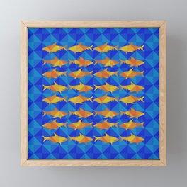 Orange Sharks On Blue Square. Framed Mini Art Print