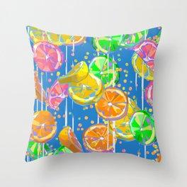 Pop Art Citrus Fizz   Blue Throw Pillow