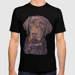 Chocolate lab LABRADOR RETRIEVER dog portrait painting by L.A.Shepard fine art T-shirt