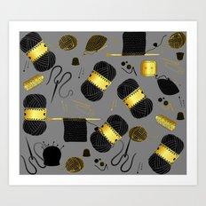 Gold and Black yarn Art Print