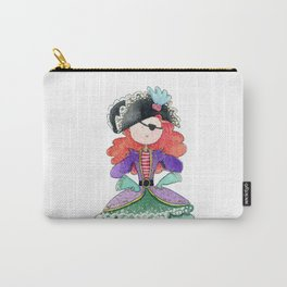 Pirate girl with curly hair | watercolor portrait Carry-All Pouch