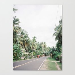 Tuk Tuk on a Road in a Jungle of Palm Trees | Philippines Tropical Island Siquijor Tricycle Travel | South East Asia Wanderlust Photography Canvas Print